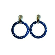 Retro Astor Circa 1980's Blue White Polka Dot Silver Tone Hoop Dangle Earrings - $16.82