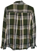Forever 21 Women's Green & White Plaid Flannel Button Up Blouse Shirt Size S image 2