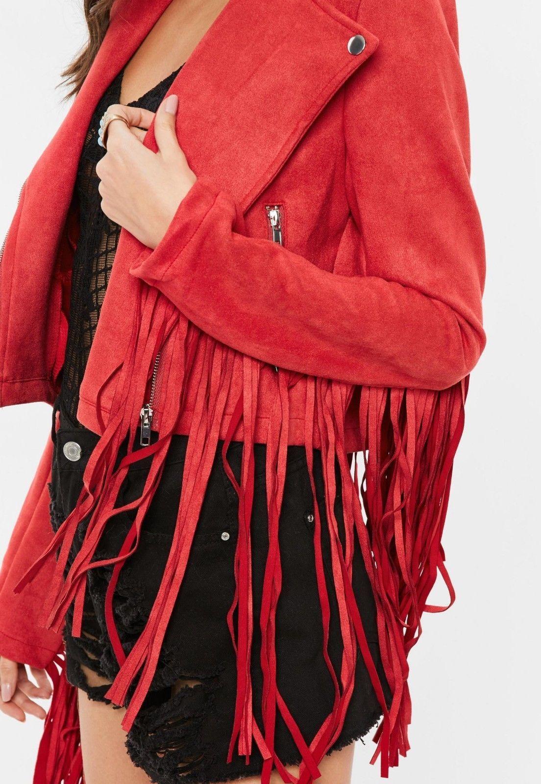 WOMEN'S NEW POPULAR RED WESTERN FRINGES SUEDE LEATHER BOHO HIPPY JACKET WJ125R image 6