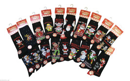 6, 12 Or 24 Pairs Of Men's Black Novelty Christmas Socks 6-11 UK 39-11 EUR - $10.64+