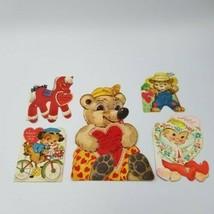Vintage Valentine's Day Cards Kids Gibson Flocked Glitter Pony Bear Die Cut Lot  - $19.80