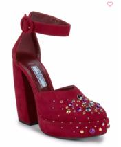 Prada Studded Suede D'Orsay Pump Banana Heel Red Strap Platform 7.5US 37... - $444.61