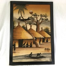 Vtg African SAND Painting 25 by 15 Villiage Ethnic Natives Huts Palms si... - $49.00