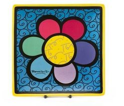 Romero Britto Square Side Plates 3 Designs Available Dolomite Vibrant Color image 6