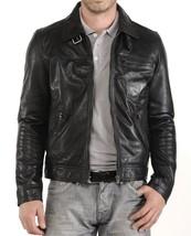 Men's Leather Jacket Biker Motorcycle Coat Black Slim Fit Leather Jacket - FL419 - $79.19+