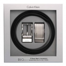 Calvin Klein CK Men's Reversible Leather Buckle Belt 3 Piece Gift Box Set 74306