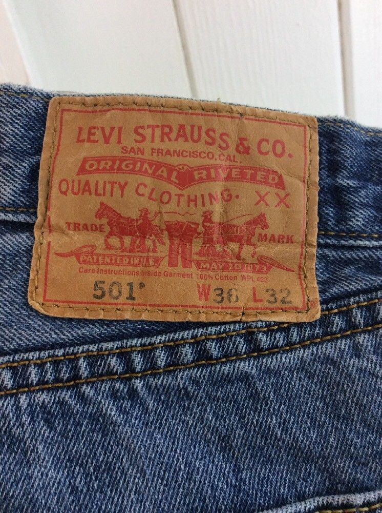 73bb0d1c2c1 57. 57. Previous. Levi 501 Button Fly Straight Leg Faded Denim Jeans Tag  36x32 Measure 36x30
