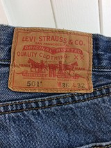 Levi 501 Button Fly Straight Leg Faded Denim Jeans Tag 36x32 Measure 36x30 - $24.74