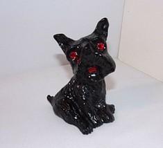 "Scottish Terrier Black Figure Vtg Coal Red Shiny Faceted Eyes 3.25"" Tall - $17.77"
