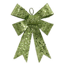 "5"" Lime Green Sequin and Glitter Bow Christmas Ornament - tkcc - $19.95"