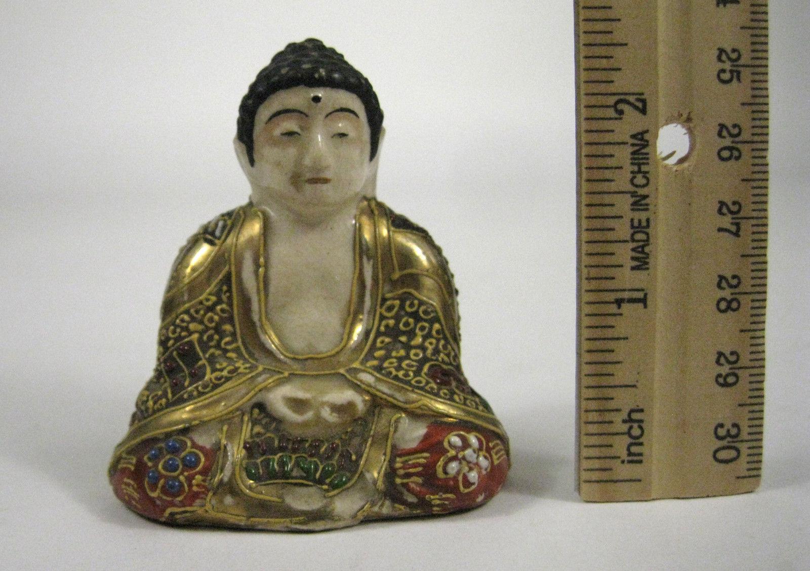 Buddha Ceramic Figurine Glazed Asian Goldtone Quinann Ouin Nan Seated 2.5 Inches