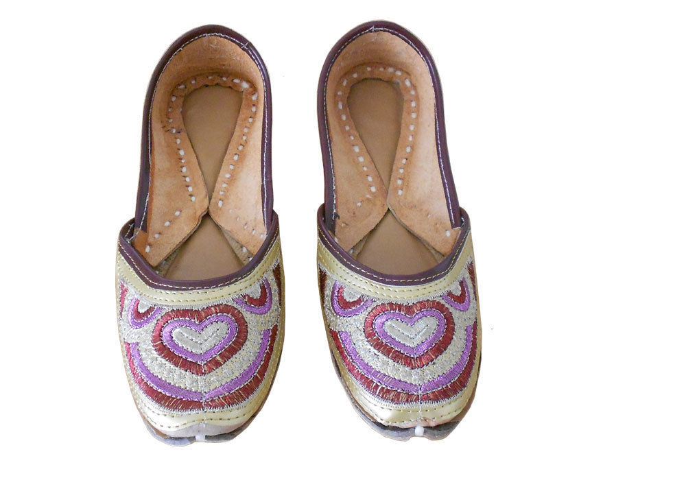 Primary image for Women Shoes Jutti Designer Indian Handmade Leather Mojaries Cream Flat US 7.5