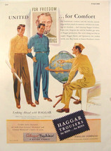 1944 Military Man & World GLOBE Haggar Trousers Abe Lincoln Print Ad - $9.99