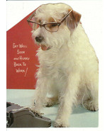 Vintage Get Well Card Jack Russell Terrier Dog in Glasses Hurry Back Unused - $6.92