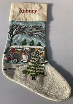 "Pottery Barn Crewel Embroidered Camper Airstream Christmas Stocking ""Robney"" - $79.26"