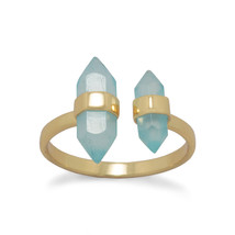Split Band Gold Ring with Aqua Chalcedony - €33,30 EUR