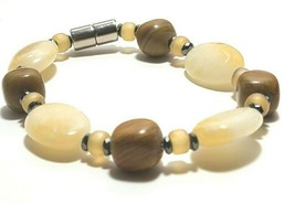Beaded Bracelet Magnetic Hematite Clasp Single Strand   7 Inch   (MAG-021) image 2