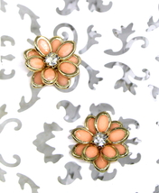 Women New Gold Clear Stone Coral Flower Petal Stud Pierced Earrings - $21.80 CAD
