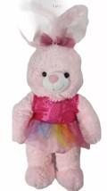 Dan Dee Collectors Choice Pink Easter Bunny Plush Toy Pink Rainbow Dress Ribbon - $21.27
