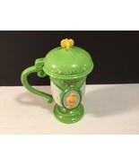 Disney On Ice Green Flip Top Cup Tinkerbell Hard Plastic - $5.63