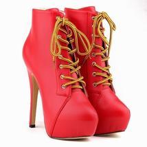 Ladies Matte High Heels Lace Up Party Platform Stiletto Autumn Winter Ankle Boot
