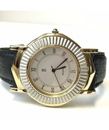 Men's Paul Sebastian 40mm Two Tone Silver Gold Black Leather Strap Dress... - $49.50