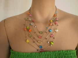 Multi-Tiered Necklace Five Strand Beaded Pale Green, Pink, Yellow, Orange, Blue - $9.99