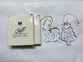 Vintage Avon Classic Christmas Crystal Ornament Tree and Reindeer Set of 2 1998 - $17.75