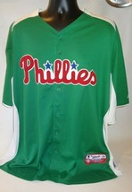 Philadelphia Phillies Jersey Green Majestic Men 2XL XXL MLB Baseball - $24.74