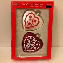 CBK Heart Glass Christmas Ornament White Red 2 PK Folk Pattern USA Xmas - $15.74