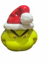 Dr. Seuss Grinch Sculpted Ceramic Cookie Jar Smirk Christmas Santa Hat F... - $80.29