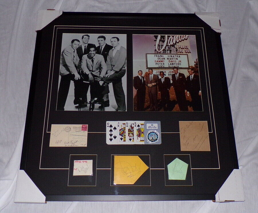 Primary image for The Rat Pack Signed Framed 30x30 Photo Set w/ Sands Cards & Chips JSA Sinatra