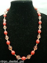 VTG Gold Tone Red & Clear Pink Acrylic Beaded Choker Necklace - $19.80