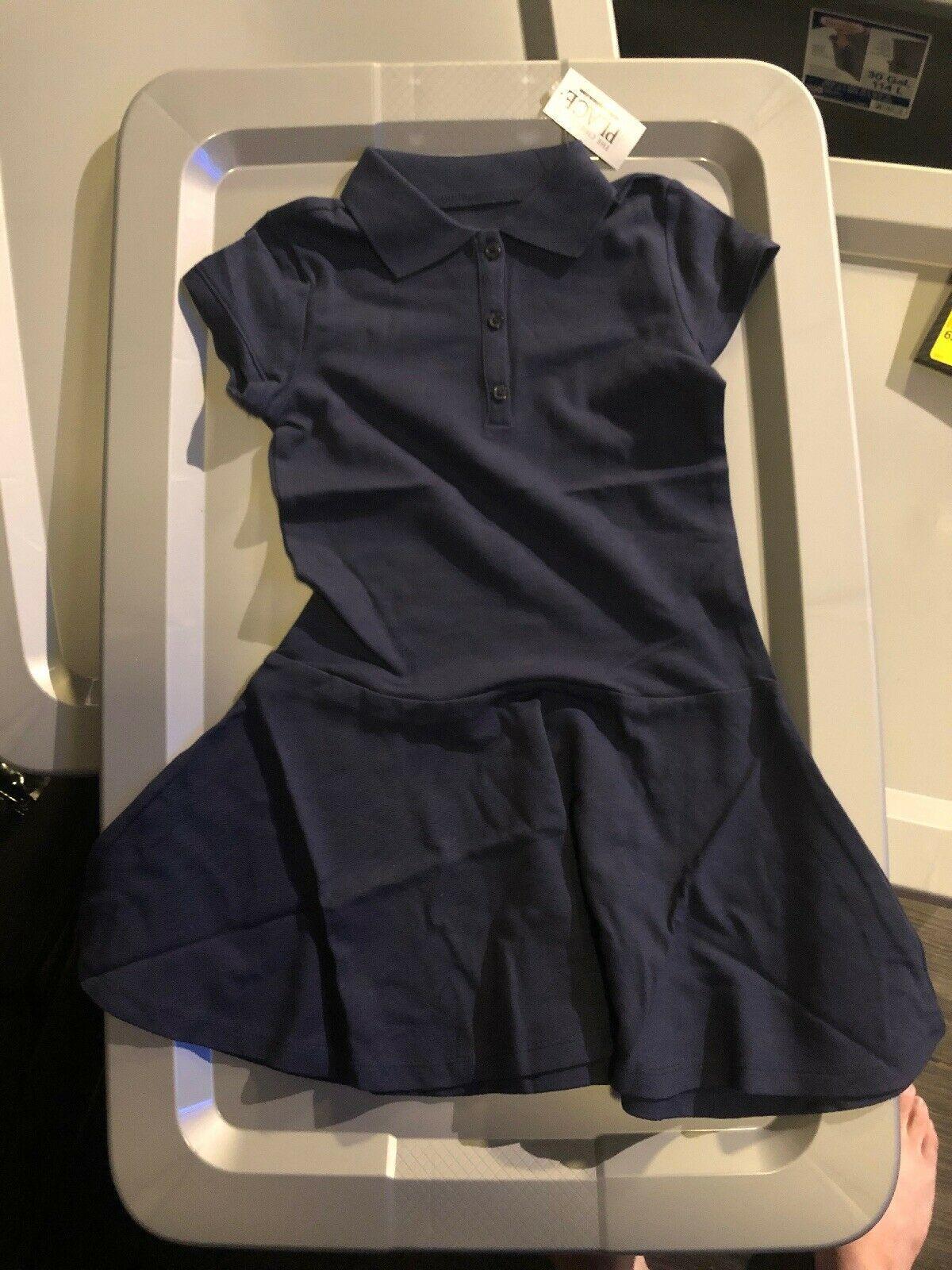 Primary image for The Childrens Place Girls Dress Solid Navy Short Sleeve Uniform Size Small 5/6