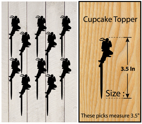 Ca340 Decorations cupcake toppers street fighter silhouette Package : 10 pcs