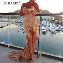JULISSA MO Ruffles Irregular Sexy Split Maxi Dress Women Strap Bodycon T... - $38.69