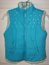 Childrens Place~Girls Vest~Blue Puffer/Faux Fur~Reversible~Size S (5-6) - $15.85