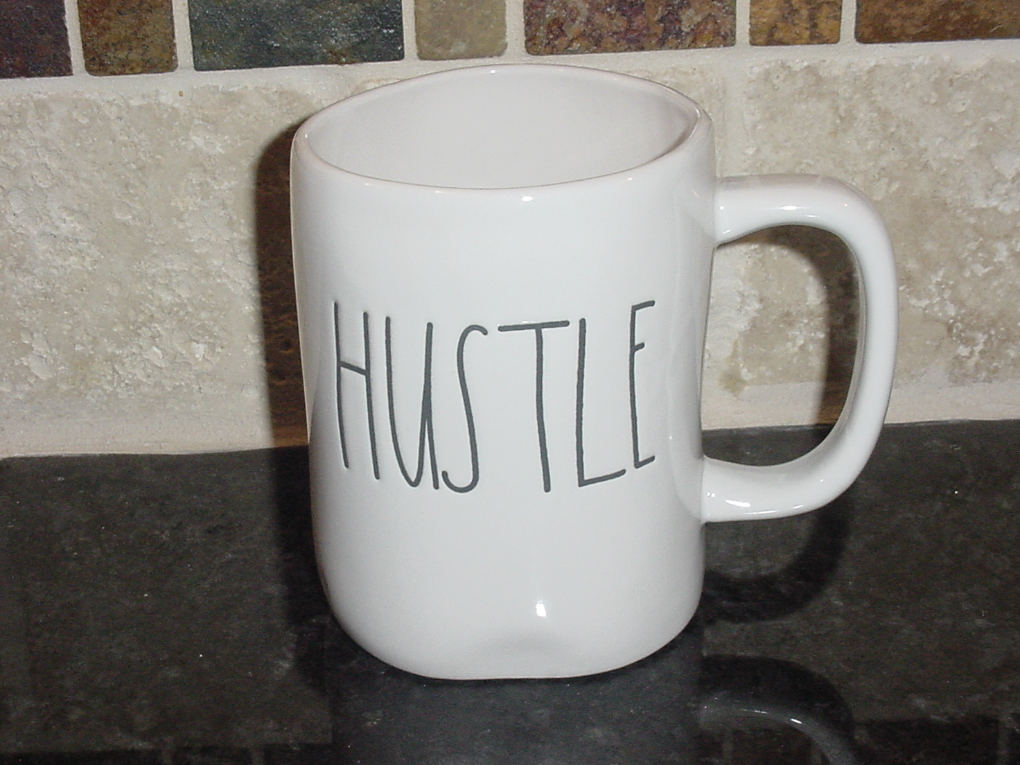 Rae Dunn HUSTLE Rustic Mug, Ivory with Black Letters, New!