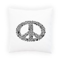 Floral Peace Sign Black Pillow Cushion Cover j786p - $275,15 MXN+