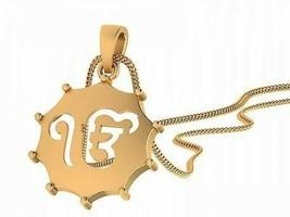 14k Yellow Hallmark Solid Real gold Religious Khanda Pendant Jewellery 1395 - $235.16