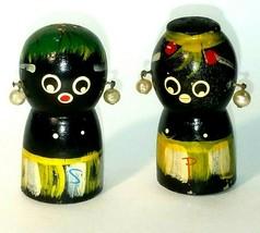 Vintage Black Americana Africana Salt Pepper Shakers Wooden RARE Mammy 1... - $24.70