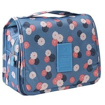 Travel Blue Flower Pattern Foldable Cosmetic Bag Handbag