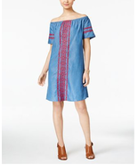 Style & Co Off-The-Shoulder Denim Embroidered Dress Size XXL NWT - $24.74
