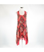 Salmon pink orange tribal BISOU BISOU sleeveless handkerchief hem dress 8 - $24.99