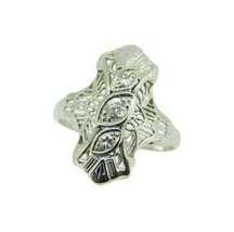 Deco 14k White Gold Genuine Natural Diamond Filigree Ring .20ct TW (#J4684) - $395.00
