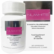 NuWhite Nu White S-Acetyl Glutathione New Improved Formula Skin Whitening 30 Cap