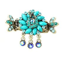 Retro Luxury Aulic Style Crystal Bronze Alloy Hair Claws, Peacock(Cyan)