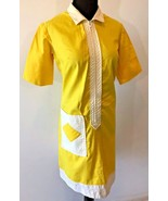 Vintage 1960s Hob Nobber Yellow Zip Diner Waitress Uniform Dress size S ... - $34.95