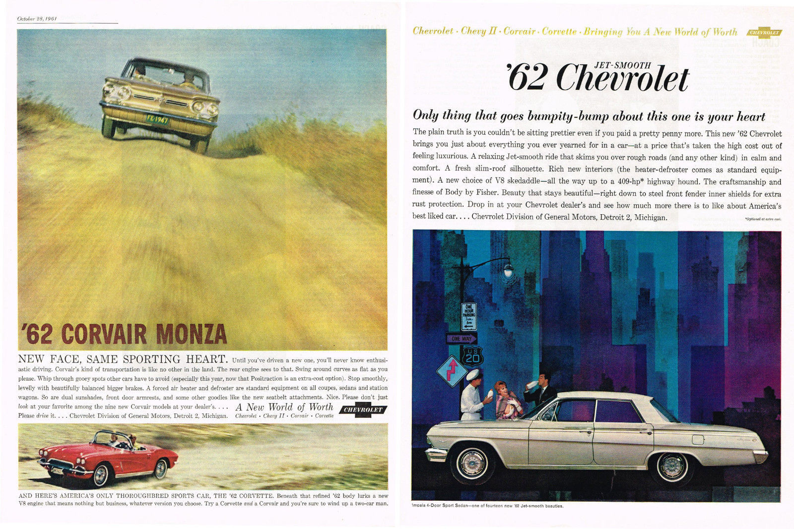 Vintage 1962  2-Page Magazine Ad Chevrolet What Goes Bumpity-Bump Is Your Heart - $5.93