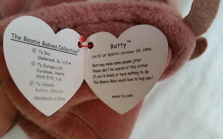 TY Beanie Babies Batty PVC PELLETS , With Errors Retired 1996 No Pink Stamp image 2